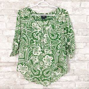 Anthropologie Maeve Green Floral Print Blouse